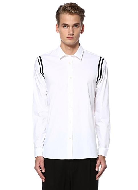 Academia Omuzları Çizgi Detaylı Uzun Kollu Gömlek Beyaz